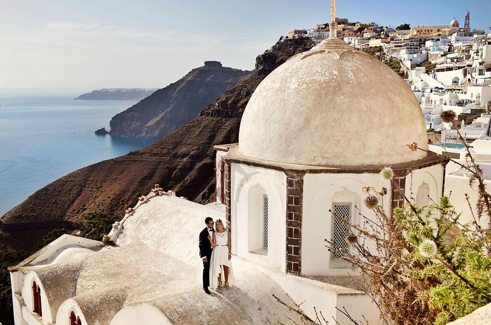 Plener ślubny nadachach Santorini
