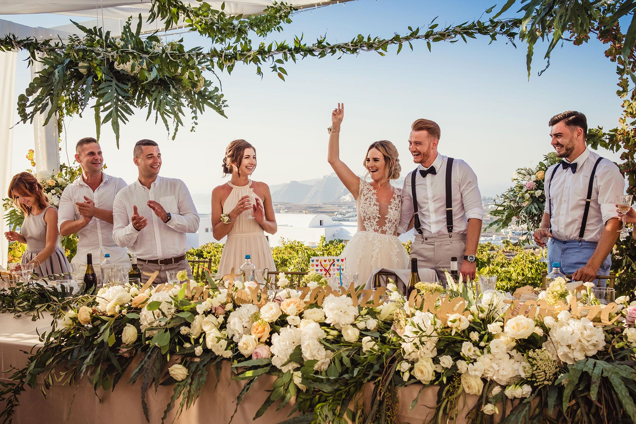 przyjecie weselne na Santorini